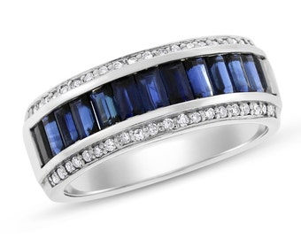 3.75 Ct. Natural Sapphire & Diamond Fancy Band Ring In Solid 14k White Gold