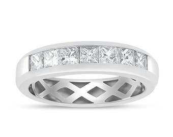 1.05 Ct. Natural Diamond Channel Set Princess Cut Wedding Band 14k White Gold