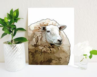 Sheep Art Print, Sheep Painting, Modern Farmhouse Painting, Farmhouse Decor, Lamb Painting, Lambs, Farm Prints, Farm Animals, Farmhouse Art