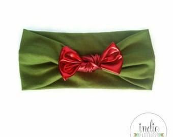 Green Headband Shiny Red Bow / Green Knot Turban / Newborn Baby Girl Children Women Babies Adult Photo prop Christmas Headbands Headwrap