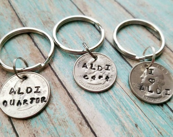 Aldi quarter holder, Aldi cart quarter, coin keychain, hand stamped key ring, grocery store key chain, personalized quarter key chain