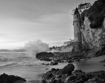 Sunset at the Pirate Tower, Victoria Beach in Laguna Beach, Orange County, California - Black and White 8x10 or 16x20 Photo Wall Art Image
