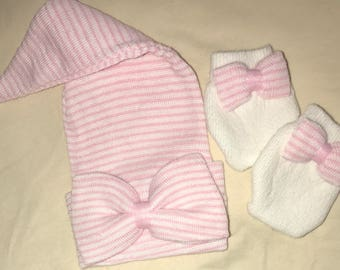 Best Seller Stocking Newborn Hospital Hat Bow with Same Material as Hat! One of Our MOST POPULAR! 1st Keepsake! Baby's 1st hat and Mittens!