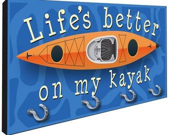 Kayak Life's Better Key Hanger Rack from Redeye Laserworks