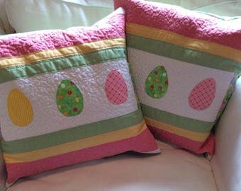 Easter Egg Quilted Pillow Cover