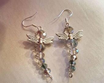 Dragonfly earrings, earrings, 925 silver wires, sparkly drop earrings, handmade jewellery, ear rings, Dragonfly earrings  dragonfly jewelry