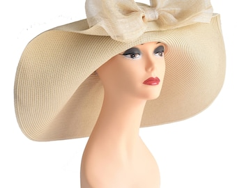 Church Kentucky Derby Carriage Tea Party Wedding Beach Wide Brim Woman's Royal Ascot Hat Nature with Sinamay Bow