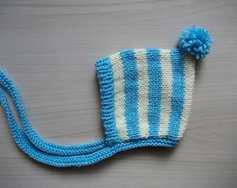 Pom pom pixie hat Baby pixie bonnet Boy pom pom hat Newborn pixie hat Baby boy hat Knit pom pom hat Knit pixie hat Striped pixie hat