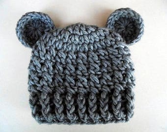 Gray bear hat, newborn bear hat, baby boy hat, teddy bear baby hat, animal baby hat, baby hat with ears, bear baby hat, crochet newborn hat