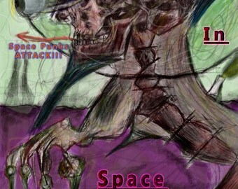 Punks In Space With A Mohawks cyborg Space skull machine