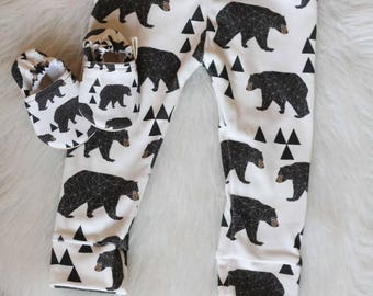 Bear Baby Leggings, organic baby leggings, organic baby clothes, toddler boy leggings, baby boy leggings, Baby Pants, baby boy pants