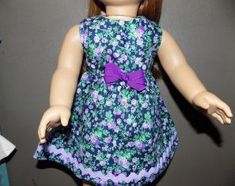 Purple/Black Print American Girl Doll Size Dress . #371