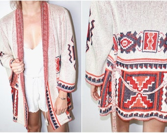 Vintage Tan Sweater with Red and Blue Tribal Print
