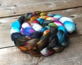 ENCHANTED polwarth and silk, roving, handpainted, hand dyed, top, Polwarth,  Luminosity Project, OOAK, silk