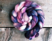 NIGHTSHADE B color spinning fiber, Organic, Polwarth, roving, spinning, handpainted, hand dyed, top, wool