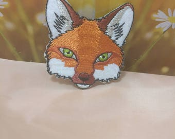 Wholesale lot 4pcs   embroidered  fox head  iron  on patch 5.5cm 2.2inch