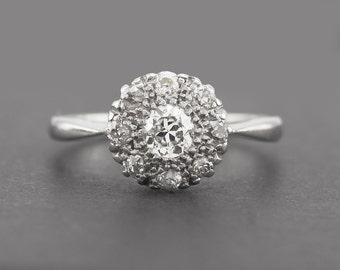 Vintage Diamond Daisy Ring 18K White Gold and Platinum Cluster Engagement Anniversary 6 (US) or L 1/2 (UK)