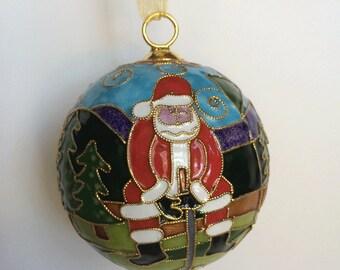 "Golf ""Santa"" Cloisonne Ornament | Great Golf Gift Item"