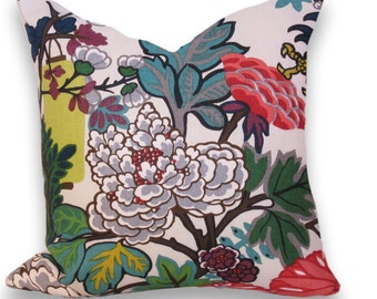 "Decorative Pillow Cover, Schumacher ""Chiang  Mai Dragon"" Alabaster, 20""  Linen Pillow Cover"