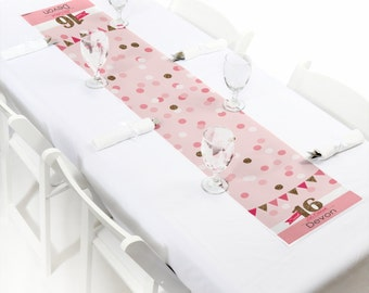 Sweet 16 Birthday - Petite Table Runner - Custom Birthday Party Decorations - Personalized Party Supplies