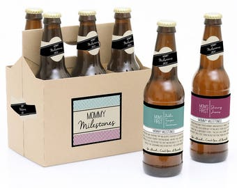 Mommy's First Milestone Beer Labels - New Mom Gift - 6 Beer Bottle Labels & 1 Carrier - Funny Baby Shower and Mother's Day Idea