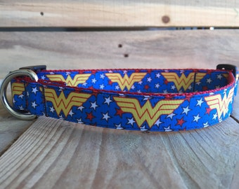 "Wonder Woman Dog Collar, Super Hero Dog Collar, Quick Release Buckle, 1"" Wide"