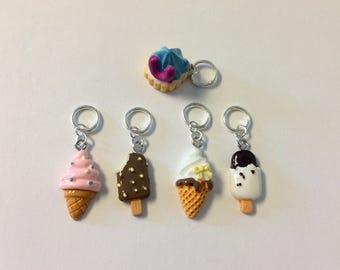 Ice Cream Cone Knitting / Crochet Stitch Markers - Set of 5