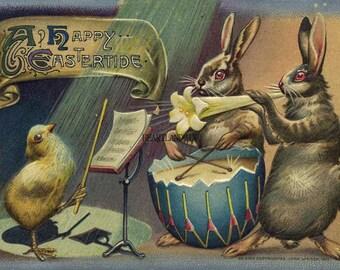 Vintage Easter Postcards Download Printable Art Image Brown bunnies