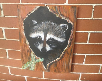 Raccoon in tree, #2, 11 x 14