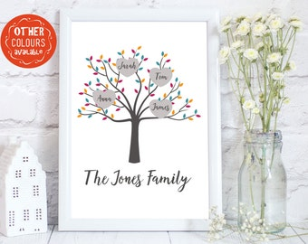 Family Tree, Personalized Family Tree print, family tree gift, Family Print, personalised family print, family tree wall art, up to 12 names