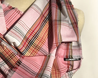 Baby pink, red, black, brushed gold, and white plaid Infinity Scarf, Circle Scarf, Hand Frayed Edges
