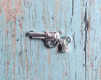 8 Gun charms 3D antique silver tone - handgun pendants, pistol charms, western charms, revolver charms, cowboy charms, pistol pendants, A16