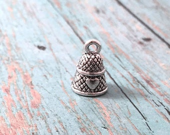 6 Small thimble charms antique silver tone (3D) - sewing charms, seamstress charms, craft charms, silver thimble pendants, HH11