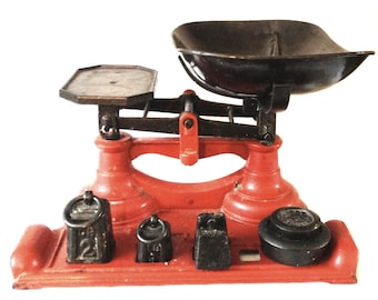 Cast iron weighing scales - vintage Avery kitchen weights - red balancing weigher - measuring scales