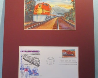 Great American Railroad Trains - The Santa Fe Chief  of the Atchison, Topeka and Santa Fe Railway and First Day Cover of its own stamp