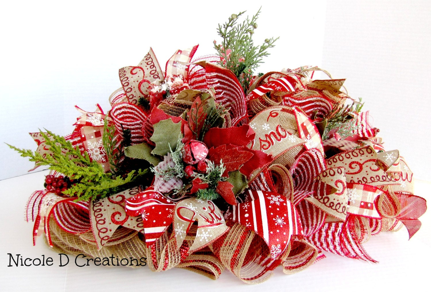 Christmas centerpiece red and burlap holidays home decor