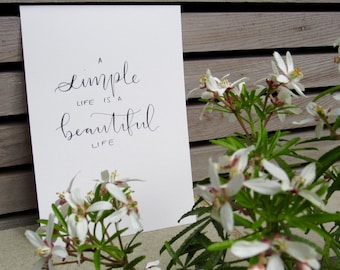 Handwritten 'a simple life' quote, A5
