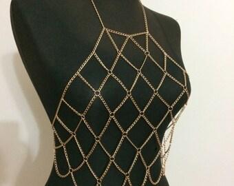 Gold Body Chain Bralette, Body Chain , Body Jewelry, Gold Body Harness, Chain Bralette