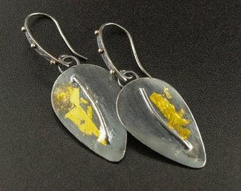 Gold & Silver Dangle Leaf Earrings