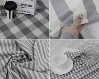 Pre-Washed Check and Stripe Pattern Cotton Fabric - 4 Patterns Selection