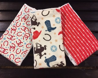 Western baby burp cloths in Rodeo Rider Round Up on Oso Cozy cloth diapers