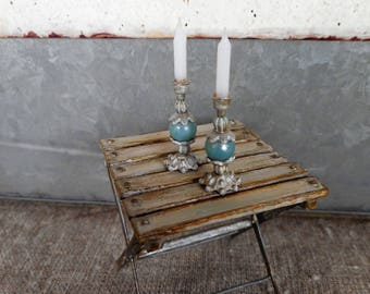Pair of candle holders with blue stones,   1:12