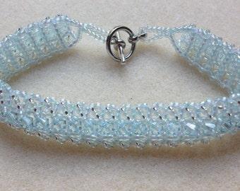 Beaded Swarovski Crystal Bracelet-Ice Blue Full-8 in.