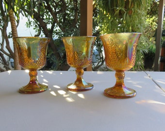 Beautiful Vintage Carnival Glass Indian Harvest Gold Goblets Set of Three
