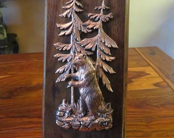 Beautiful High Quality Vintage Copper Metal Art Wood Plaque Canada