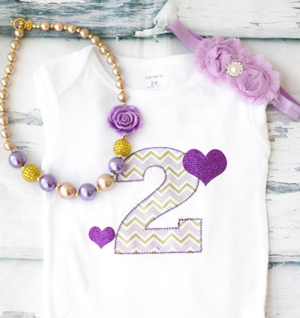 Girl Second Birthday Cake Smash Purple Gold Number 2 Onesie