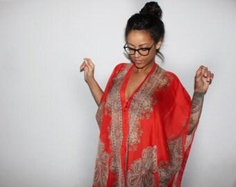 Fancy Red Shawl, women's wrap, women's shawl, elegant wrap, evening shawl, wedding wrap, wedding shawl, red shawl, shawl, wrap