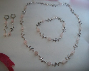 rose quartz and silver set