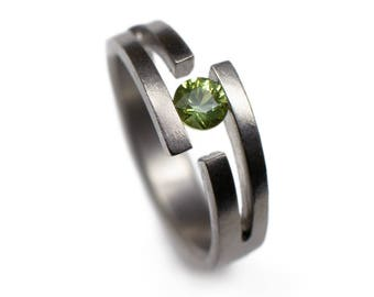 Sapphire Ring - green sapphire engagement ring, tension set rings, sapphire wedding
