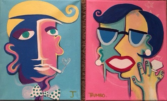 8X10 His & Hers Acrylic on Canvas Hollywood Painting